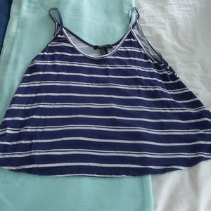 Forever 21 striped navy tank top